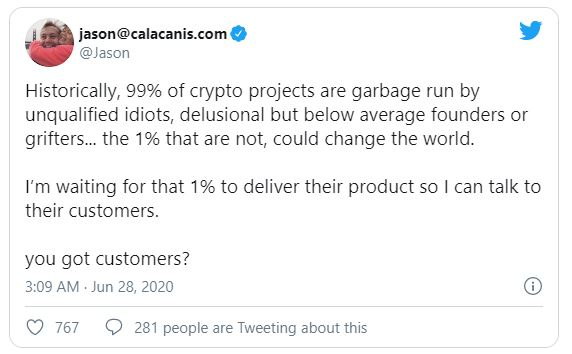 Uber Angel Investor: '99% of Crypto Projects Are Garbage' số 1